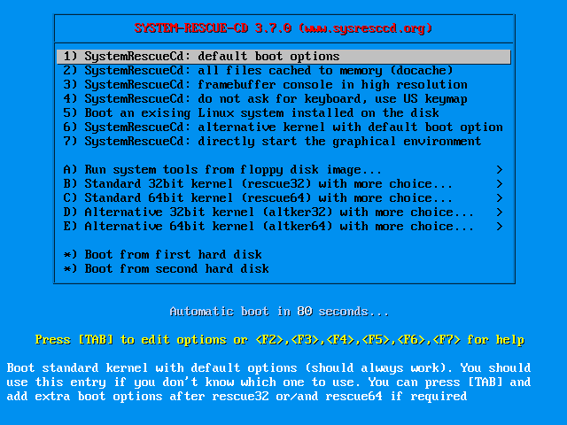SystemRescueCd best linux tool for repairing and recovering your system